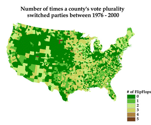 Volatile Counties, 1976-2000