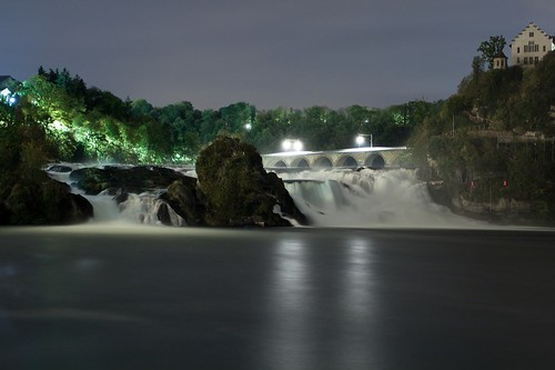 Rhine fall by night