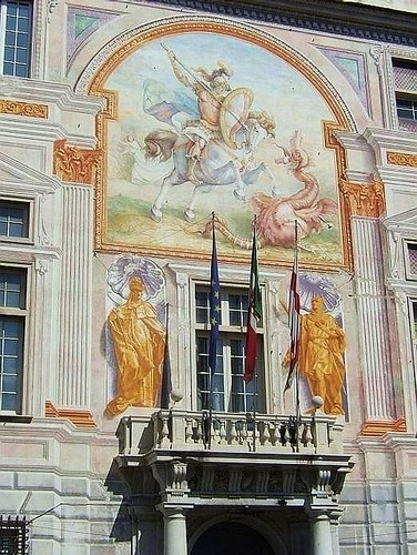 balcony and beautiful paintings on the facade of Palazzo San Giorgio in Genoa