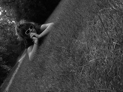 bored () Tags: bw selfportrait grass 10secondtimer