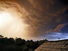 Turmoil (Nicholas_T) Tags: roof summer sky weather clouds lowlight dusk creativecommons thunderstorm cumulonimbus