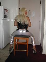 Spandex Sex (mariaheelz) Tags: highheels bondage crossdresser miniskirts