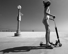 17th Street (konaboy) Tags: california shadow bw beach girl bravo searchthebest scooter newportbeach 1022mm lifeguardtower 17thstreet 50616
