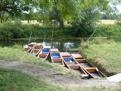 Punts parked at Granchester Meadows