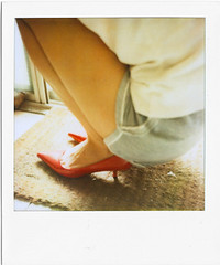 Waiting in shoes (RosePirate) Tags: light home girl shoes waiting day mood time leg taiwan atmosphere squat taipei doormat polaroidsx70sonar