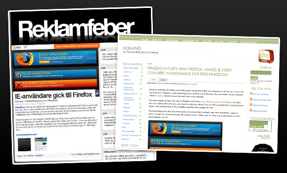 Reklamfeber and Adland articles about the Pingdom FF campaign results
