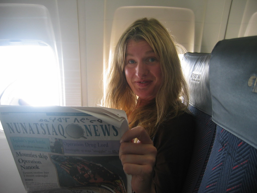 On the First Air plane from Ottawa to Iqaluit, catching up on the Nunatsiaq News.