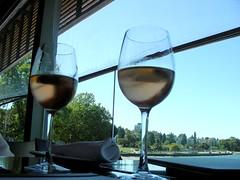 Kir at Watermark (knightbefore_99) Tags: white beach vancouver restaurant view wine burgundy kits kitsilano bourgogne cassis watermark kir aperitif
