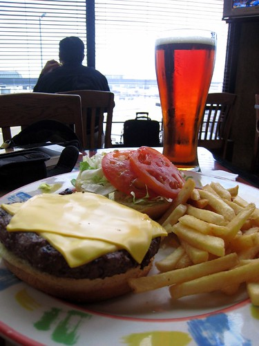 A cheezeborger at the airport