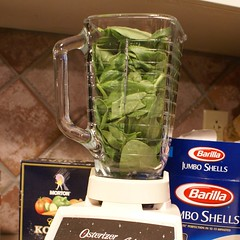 1.)  pulverize fresh spinach, EVOO, holy trinity in food processor or 40 year old blender