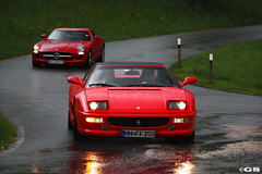 355 & SLS (Germanspotter) Tags: auto italien red italy car rain canon germany deutschland photography eos mercedes italian ferrari spot exotic dslr rosso gs find supercar chiemsee sls sportscar amg 2010 355 sportwagen 450d carparazzi autogespot germanspotter