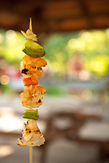 167.365 - Shishkabokeh (Josh Liba) Tags: summer food color love beautiful vegetables project wonderful yummy picnic dof bokeh shrimp grill delicious 365 veggies shallow grilled kabob prawn shishkabob foodgasm hbw 167365
