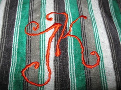 Initials for Jesse (A little bit of stitchin') Tags: satinstitch crewelembroidery longandshortstitch dmcthread
