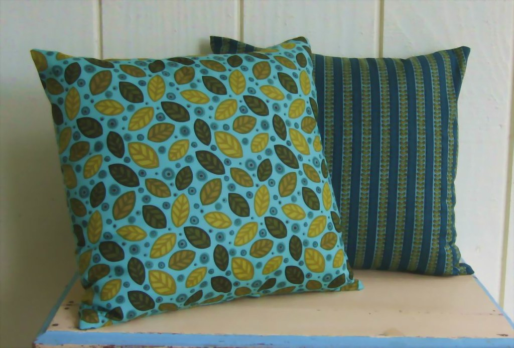 PILLOW COVERS- Leaves- Turquoise- Sage Green