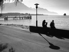 a so quiet place (mujepa) Tags: lake evening pier peace geneva lac peaceful calm quay serenity rest soire lman quai villeneuve calme jete repos srnit dbarcadre quitude