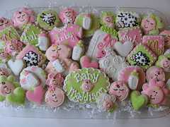 Ohhh Baby! (East Coast Cookies) Tags: baby cookies greenandpink decoratedcookies babycookies showercookies babygirlcookies