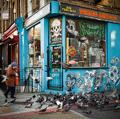 an every day journey (Screen Deb) Tags: street london by skulls photography death skull book feeding camden painted pigeons threeamigos nw1 pensioner elderlywoman seniorcitizen skateboardshop anneclements dontpassmeby