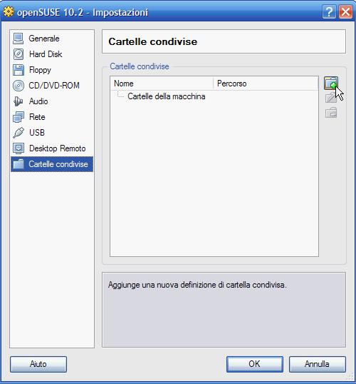 VirtualBox - Cartelle condivise: aggiunta cartella