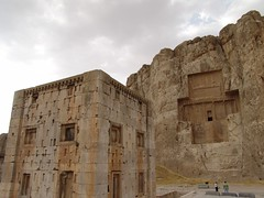 Naqsh-e-Rostam   (Amir With His New Camera) Tags: mountain color colour architecture composition ir photography persian iran persia infrared shiraz oldcity persepolis xerxes herritage darius fars parsia protectedsite iranianarchitecture iranianart persianempire naqsherostam dariusthegreat southofiran tombofwarriors 2500yearsold achaemenianwarrior