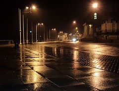 Summer's end....probably (~Glen B~) Tags: road street uk england cinema wet car rain night dark lights hotel seaside britain pavement cleveland headlights promenade regent teesside damp drizzle redcar coatham reflectios satelliteportfolio