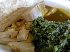 Roasted chicken with curry sauce, herbed basmati rice and creamed spinach