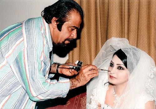 Saudi Arabian actress Reem Abdullah getting a face make-up