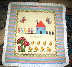 Tunus işi bebek battaniyesi kanaviçeli