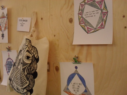 Tote bags and drawings at Paper Scissor Stone