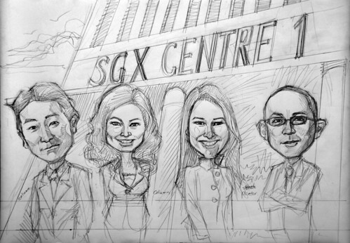 caricatures for SGX - 4 CNBC news reporter pencil sketch
