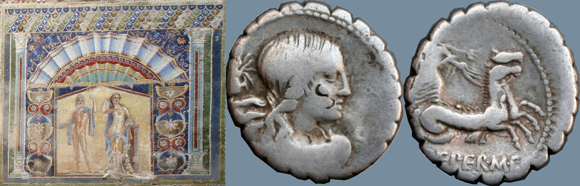 69BC 399/1 coin of Creperius with Neptune and Amphitrite, and mosaic of Neptune and Amphitrite at the eponymous house in Herculaneum