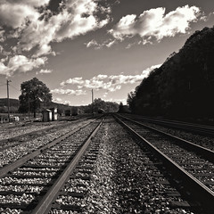 On A Clear Day (Baab1) Tags: blackandwhite bw monochrome clouds aperture nikon westvirginia blueskies goldenhour railroads railroadtracks railyards wva d300 csxrailroad hancockmaryland 1755nikkor berkeleyspringswestvirginia shaadows niksofware diminishingperspectives sepiamountains westernmarylalnd