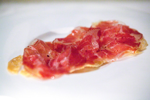 Stone Barns cured coppa pizza with corn flat bread