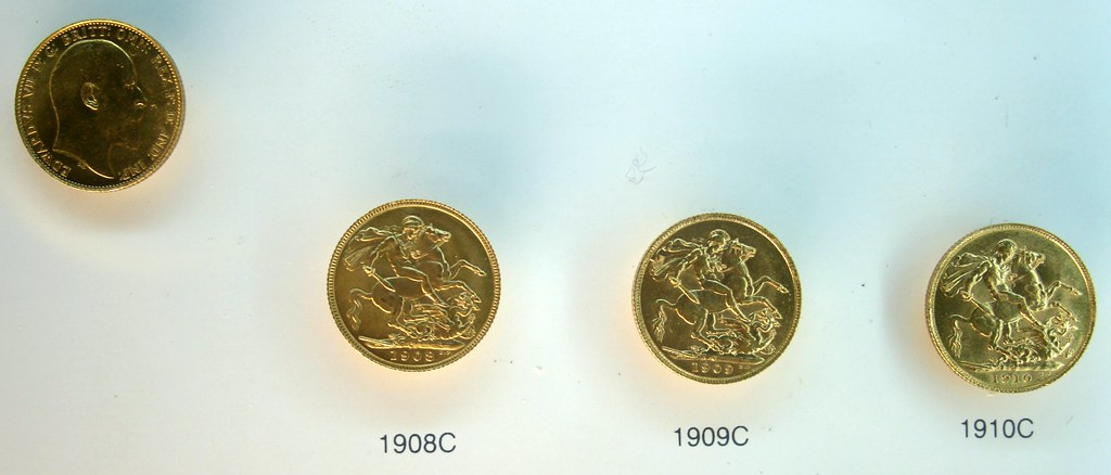 Canadian Gold Sovereigns - 1908,1909,1910