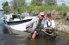 fish net river boat rainbow fishing montana flyfishing guide trout float angler clackacraft
