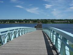 Blue bridge (palestrina55) Tags: bridge blue canada river geotagged waterfront 2006 fredericton newbrunswick kanada saintjohnriver stjohnriver cans2s flickrchallengegroup palestrina55 photofaceoffwinner geo:lat=45963158 geo:lon=66639960 pfosilver achallengeforyou