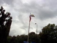 BELGICA, BELGIE, BRUSELAS, BRUXELLES, BRUSSEL, La bandera de los Venezolanos en Bruselas ondeando en el gris cielo Belga.Avenue Franklin Roosevelt nro 10  B -1050  Bruselas  Belgica. (LATINOS AMERICANOS EN HOLANDA) Tags: chile peru argentina brasil uruguay quito rotterdam colombia chili bresil belgique venezuela cuba bolivar bruxelles bolivia caracas mexique bruselas montevideo brussel belgica lapaz chavez saintexupry fidelcastro lahabana bolivie cochabamba buenosaries cubanos perou potosi colombie latinosamericanos bolivarianos evomorales euromayday bolivianos sudamericanos revolucionindoamericana revoluciondelospobres revolucionlatinoamerica larevolucioncubana larevoluciondelospuebloslatinosamericanos larevoluciondelospobres latinosamericanossolidarioseneuropa solidaridadconelpueblovenezolanoenbruselasbelgica socialismolatinoamericano socialismoparalospuebloslatinosamericanos socialismoparalarevolucion lafuerzadelamazorcabolivianaenbruselas 6dejulio2007bruselasbelgica ringomonzonactividadesdeloslatinosamericanosenbruselasbelgicanbrusselbelgie lbelgie latinosamericanoszuidholland latinosamericanosutrecht latinosamericanosrotterdam latinosamericanosbruselas latinosamericanosbelgica socialistasenbruselas socialistasenbelgica elmasbolivianoenbruselas elmasbolivianoenbelgica labanderadevenezuela lameriquelatine amanuelrodriguezdelegadodesanmartinenchile indiobravo claudiaselser belgiumbelgiquebelgiebelgicabruxellesbrus