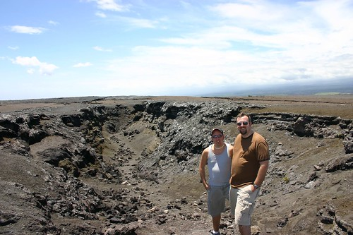 My partner and I at the Southwest Rift Zone by Kilauea on Hawaii