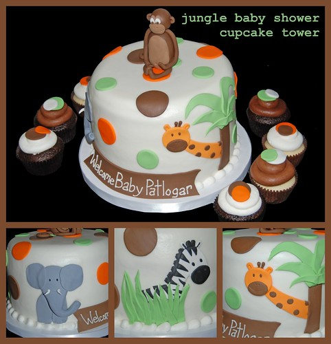 Orange, Green and Brown Jungle Themed Cupcake Tower for a Baby Shower