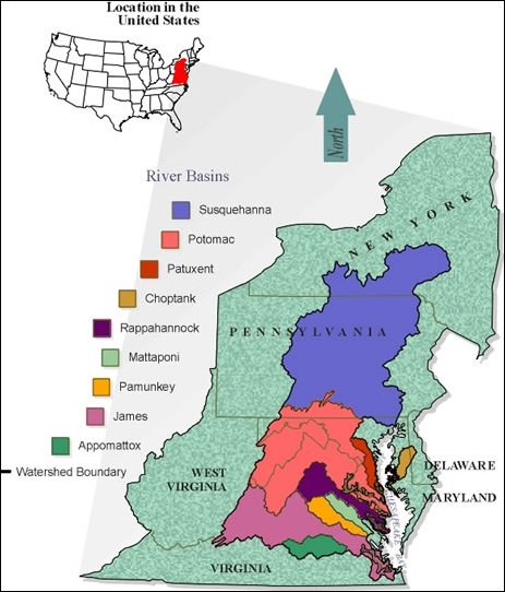 Chesapeake Bay watershed (by: U. of Virgina Department of Environmental Health and Safety)