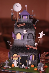 Haunted Mansion cake (Andrea's SweetCakes) Tags: moon halloween graveyard leaves cat stars gate ghost pumpkins headstones bats hauntedhouse skullsbones