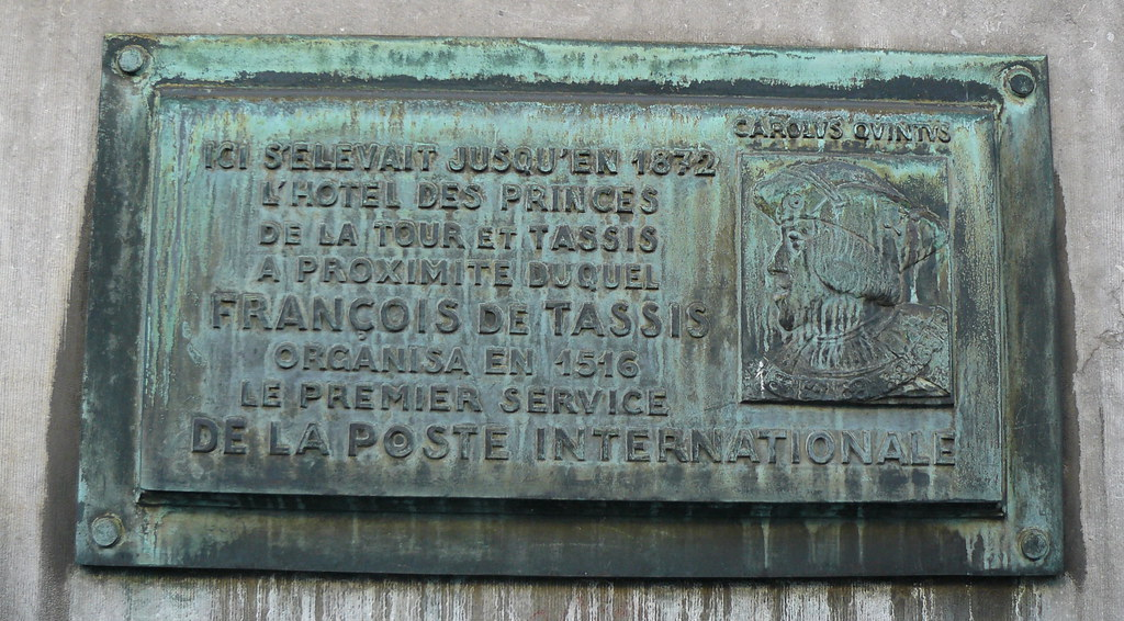 Bruxelles (Belgique), rue de la Régence/ Regentiestraar / Regentschaps, plaque ŕ l'emplacement de l'hôtel des princes de La Tour et Tassis
