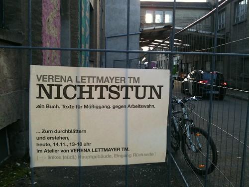 Hinweis auf Verena Lettmayer Nichtstun. MATO November 2010