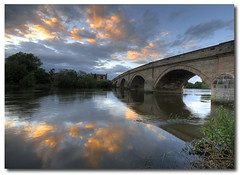 River Trent at Dusk (Jonnyfez) Tags: longexposure bridge sunset sky reflection water clouds landscape dusk derbyshire trent hdr rivertrent photomatix sigma1020 d80 creweandharpur rnbtrent