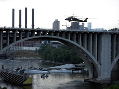 Interstate 35W bridge over the Mississippi River (ibikempls) Tags: rescue minneapolis mississippiriver usarmy bridgecollapse blackhawkhelicopter i35wbridge i35wbridgedisaster