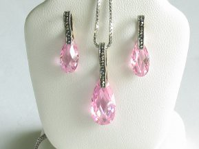 Pink Cubic Zirconia and Marcasite