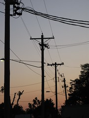 signals (mereshadow) Tags: sunset west lines that power signals electricity webs directional hamelillinois wesend