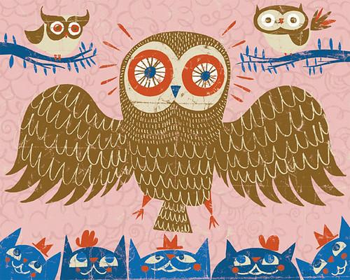 "ben newman ""owl's meow"" print"