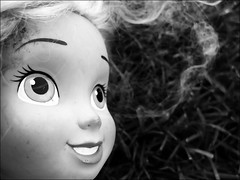 Sister Of Chucky (peasap) Tags: california ca blackandwhite macro smile face hair toy eyes doll sandiego elcajon el plastic grin cajon chucky g9 supershot flickrslegend