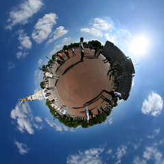 Mr. Blue Sky (Man) Tags: uk blue sky panorama sun london clouds 360 palace full handheld elo buckingham 360x180 spherical planetoid plazza hugin electriclightorchestra mrbluesky enblend littleplanet planetoids