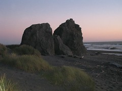 Sunset over two rocks